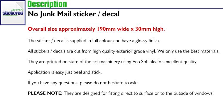 DECAL 190mm x 30mm NO JUNK MAIL LETTER BOX DOOR WINDOW VINYL STICKER