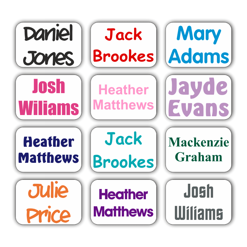 60 Personalised Stick On Clothes Name Labels